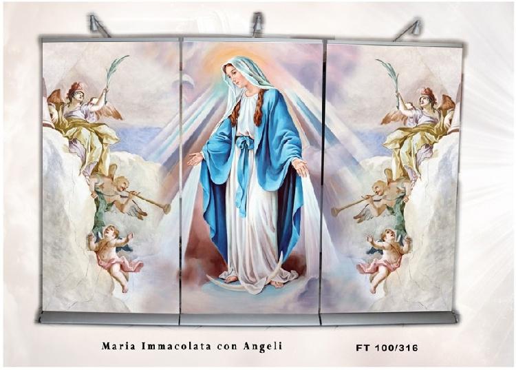 FONDALE SCENOGRAFICO MARIA IMMACOLATA CON ANGELI